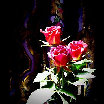 Stained Glass Red Roses 0664 Smaller Image  by candypaull