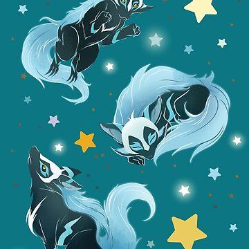 Blue Cosmic Wolf by bloomejasmine