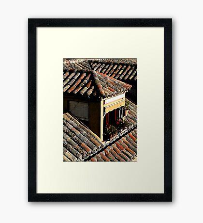 Rooftop window in Toledo, Spain Framed Print