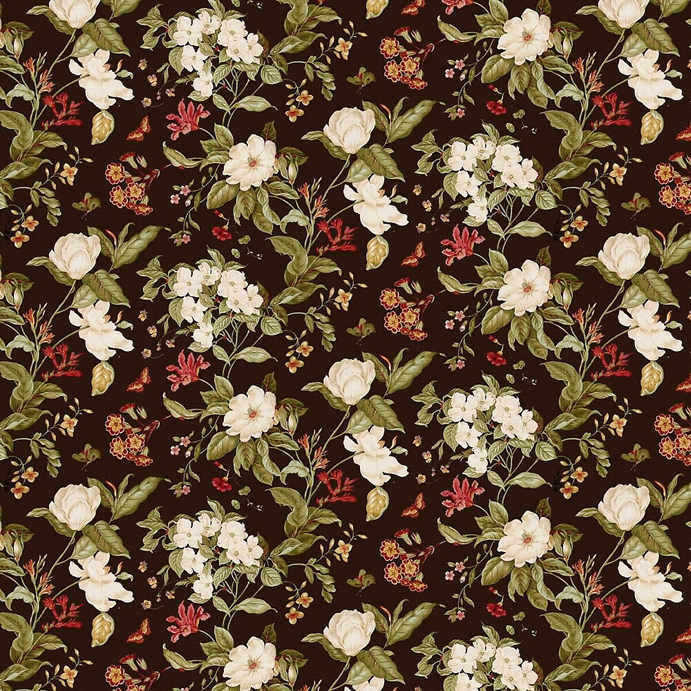 Floral Brown And White Flowers Botanical By Loveandserenity