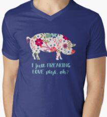 Pale Floral Freaking Love PIGS Pig Boar Oink Animal Men's V-Neck T-Shirt