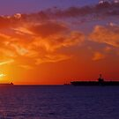 USS George Washington At Sunset  by EOS20