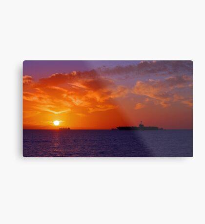 USS George Washington At Sunset  Metal Print