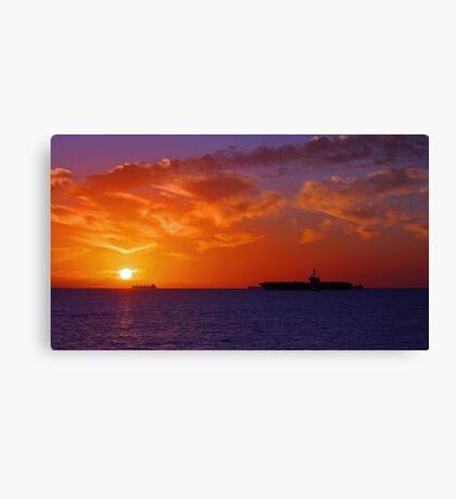 USS George Washington At Sunset  Canvas Print