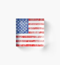 Patriotic American Flag Independence Day Artwork Acrylic Block