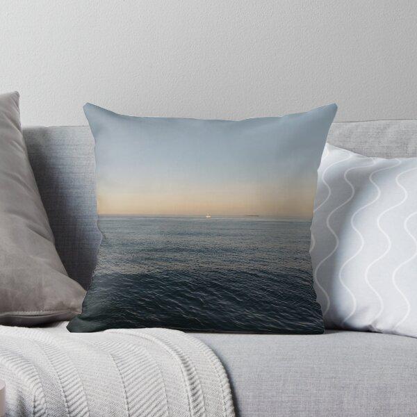 Sky, water, horizon, sea, ship, waves, island, glow, #Sky, #water, #horizon, #sea, #ship, #waves, #island, #glow Throw Pillow