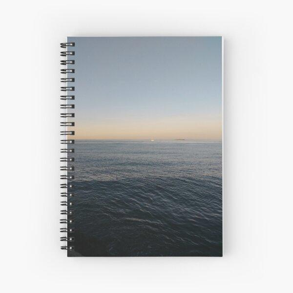 Sky, water, horizon, sea, ship, waves, island, glow, #Sky, #water, #horizon, #sea, #ship, #waves, #island, #glow Spiral Notebook