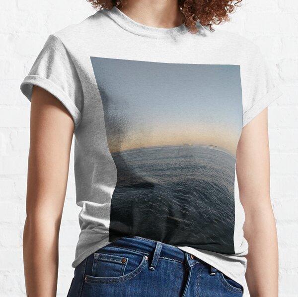 Sky, water, horizon, sea, ship, waves, island, glow, #Sky, #water, #horizon, #sea, #ship, #waves, #island, #glow Classic T-Shirt