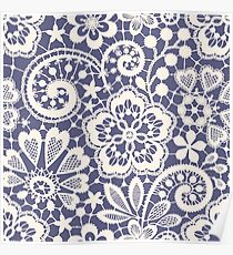 Lace Seamless Pattern. Blue backgrounds. Poster