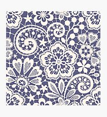 Lace Seamless Pattern. Blue backgrounds. Photographic Print