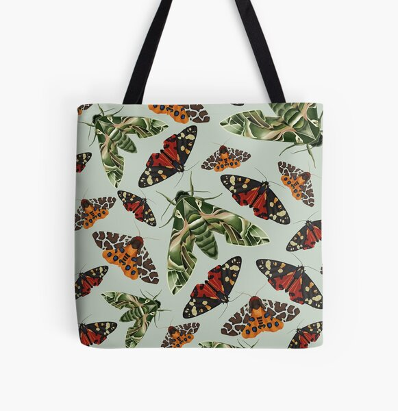 Moth Pattern All Over Print Tote Bag