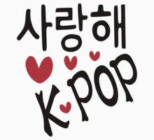 I LOVE KPOP in Korean language txt hearts vector art  | Women's T-Shirt