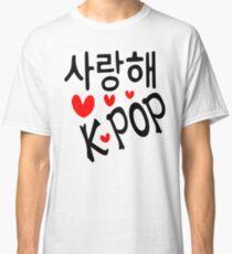 I LOVE KPOP in Korean language txt hearts vector art  Classic T-Shirt