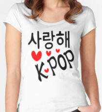 I LOVE KPOP in Korean language txt hearts vector art  Women's Fitted Scoop T-Shirt