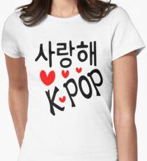 I LOVE KPOP in Korean language txt hearts vector art  Women's Fitted T-Shirt