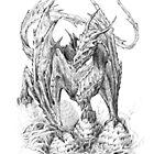 Wyvern on the nest of some larger dragon | Graphite Pencil Art by Tatiana Yamshanova