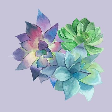 Watercolour Succulent by bandsnthings