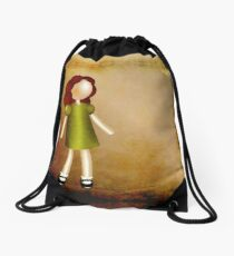 Curious Red-Haired Girl Drawstring Bag