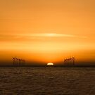 wind farm sunset by therightprofile
