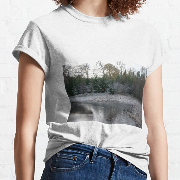 The Secret Woodland Pond in Winter Classic T-Shirt