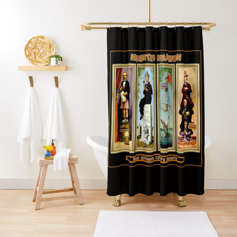 HAUNTED MANSION : Vintage New Orleans Liberty Square Prints. Shower Curtain