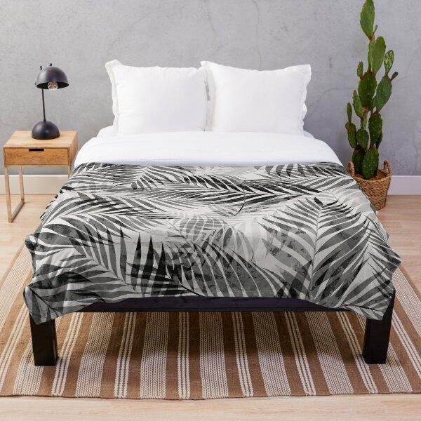 Palm Leaves - Black & White Throw Blanket