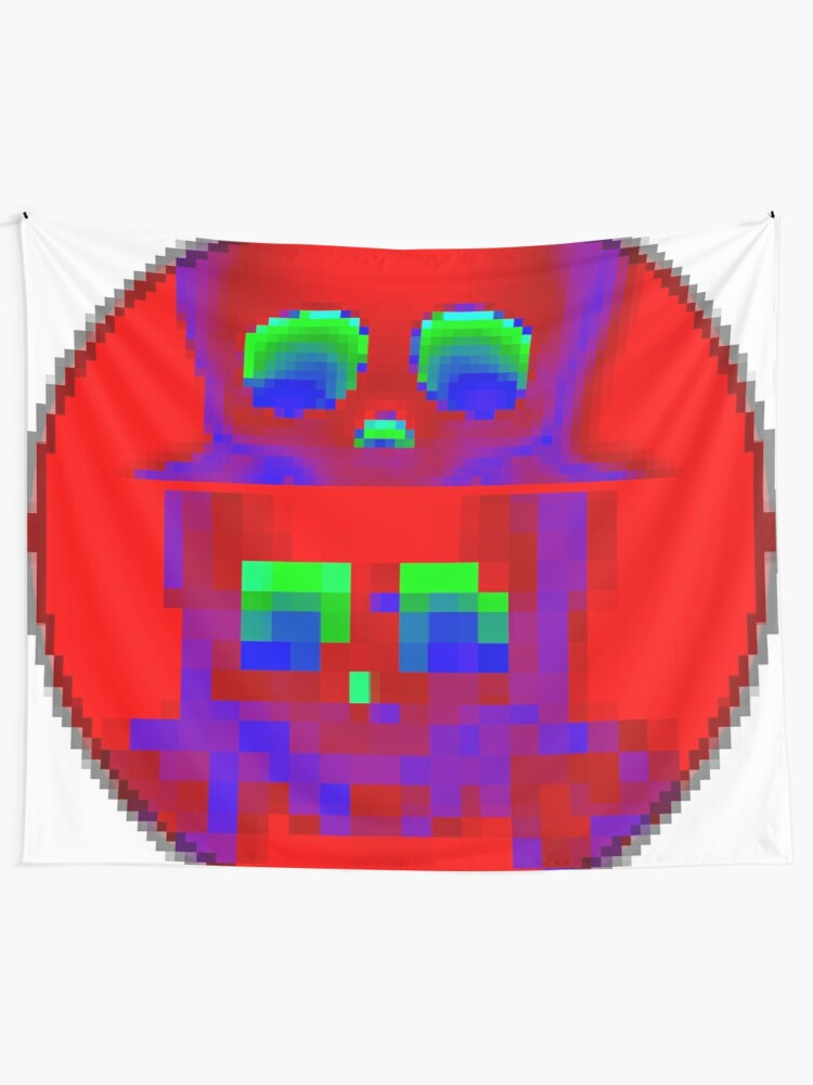 Alternate view of Emoji Skull Fluo 1 by RootCat  Tapestry