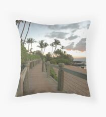 boardwalk and beach at sunset, Wailea, Maui, Hawaii Throw Pillow