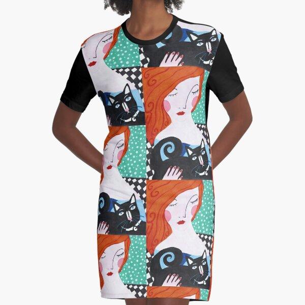 Ginger's Cat Graphic T-Shirt Dress
