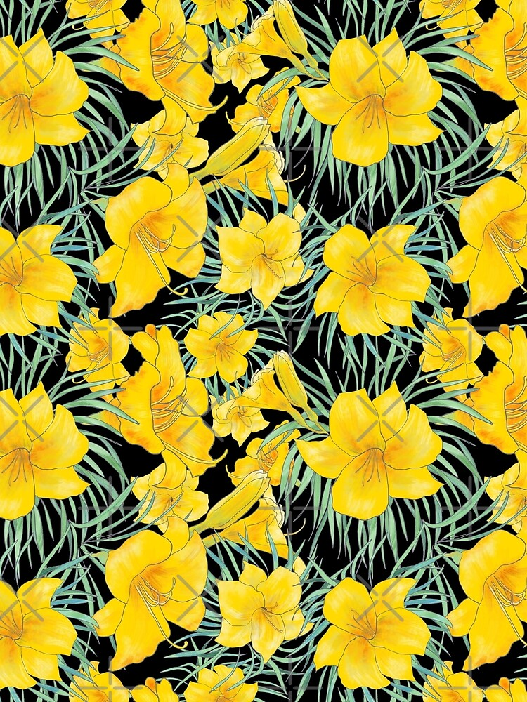 Stella D'Oro Daylily floral pattern by andreeadumez