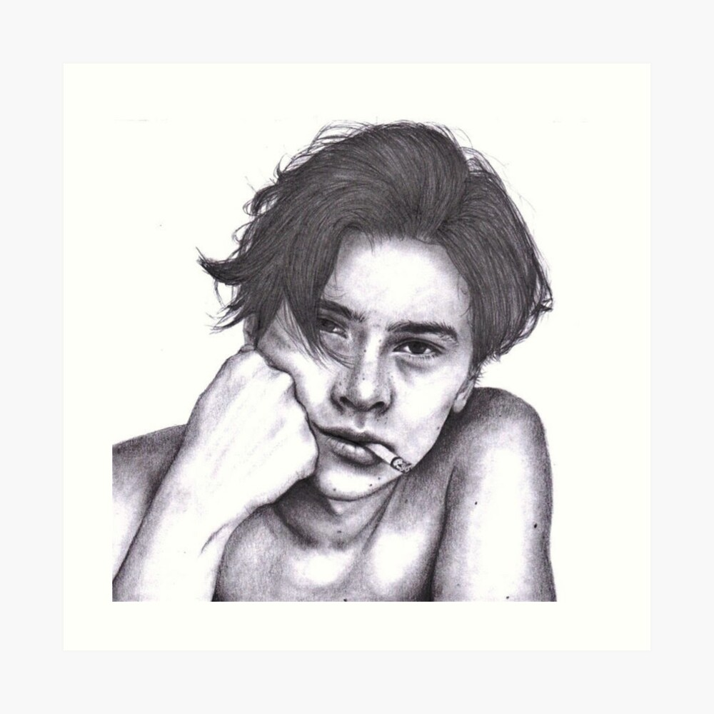 Cole sprouse pencil drawing art print