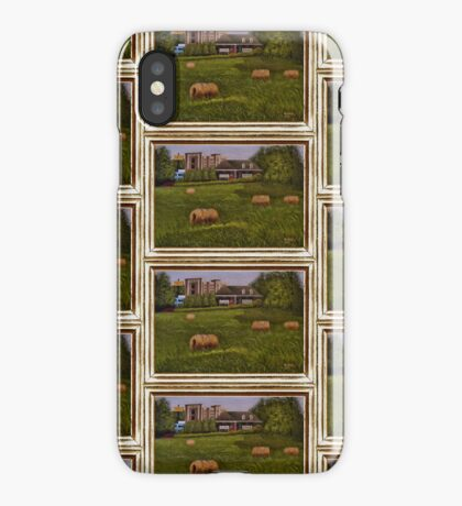 A LITTLE BIT OF COUNTRY, ACRYLIC PAINTING, DISPLAYED WITH SYNTHETIC FRAME iPhone Case