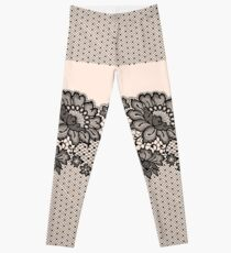 Black lace seamless pattern. Leggings