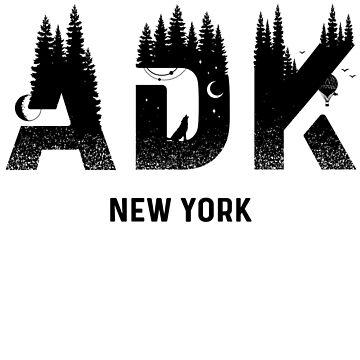 Saranac Lake Adirondack Mountains New York Souvenir T-Shirt by christianadams