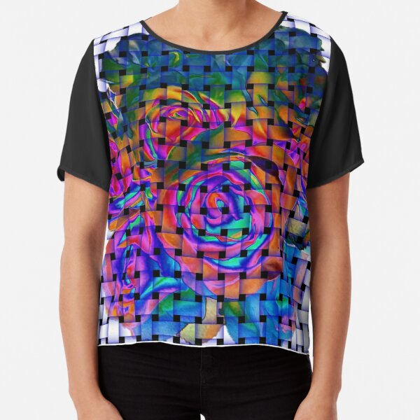 Colorful Floral Weave Chiffon Top