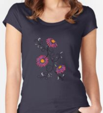 3 Flowers Drawing - Art&Deco By Natasha Women's Fitted Scoop T-Shirt