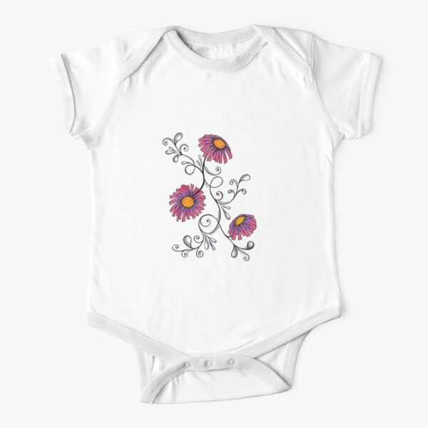 3 Flowers Drawing - Art&Deco By Natasha Short Sleeve Baby One-Piece