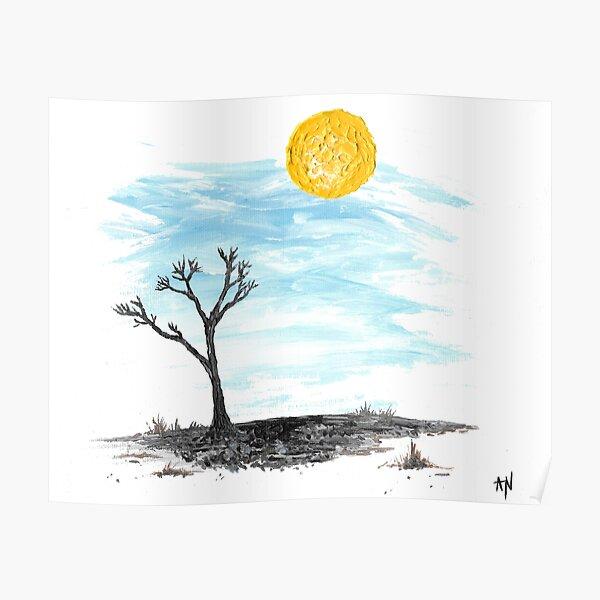 Hot Sun Blue Sky Desert Landscape Original Art Poster