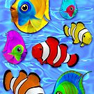 Tropical Colorful Fish Pattern by BluedarkArt