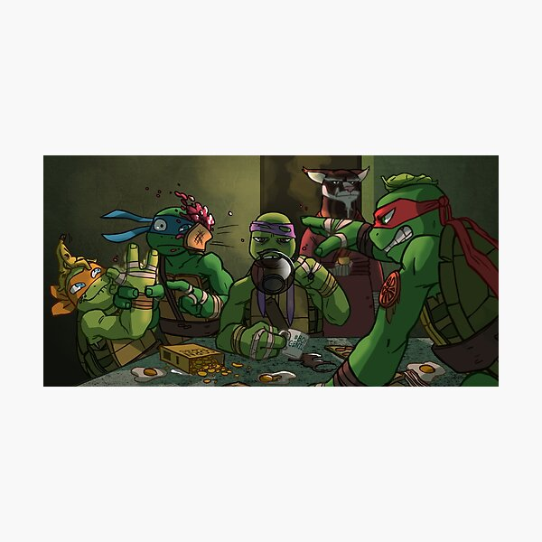 Early-Morning Food Fight - TMNT Photographic Print