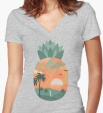 Tropical Gold Women's Fitted V-Neck T-Shirt