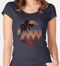 Geometric Sunset Women's Fitted Scoop T-Shirt