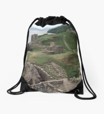 Grounds of castle C13-17 from keep Urquhart Bay Loch Ness Scotland 19840910 0006  Drawstring Bag