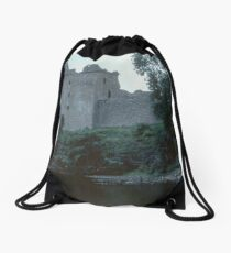 Urquhart Castle C13-17 and jetty from waters edge on Loch Ness Scotland 19840910 0011  Drawstring Bag