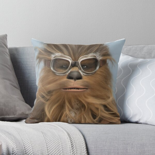 Goggled Wookie Throw Pillow