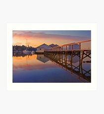 Low Tide Mosman Bay Boatshed At Dusk  Art Print
