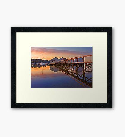 Low Tide Mosman Bay Boatshed At Dusk  Framed Print