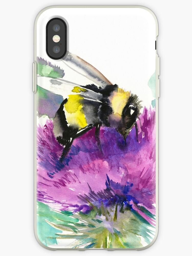 'Bumblebee and Thistle Flower, herbal art, bee, honey herbs vegan art'  iPhone Case by surenart