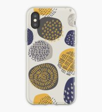 Abstract Pattern of Circles in Navy and Mustard iPhone Case