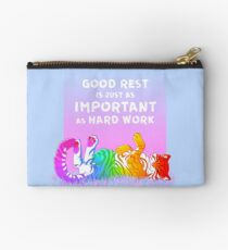 """""""Good Rest is Just as Important as Hard Work"""" Rainbow Tiger Zipper Pouch"""